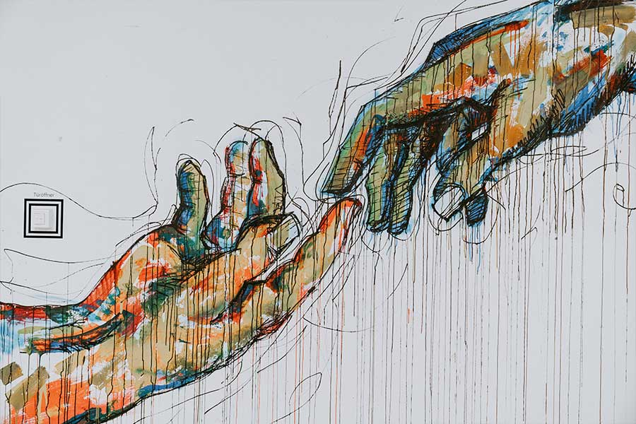 Ilustración de dos manos tocándose con los dedos en señal de compromiso