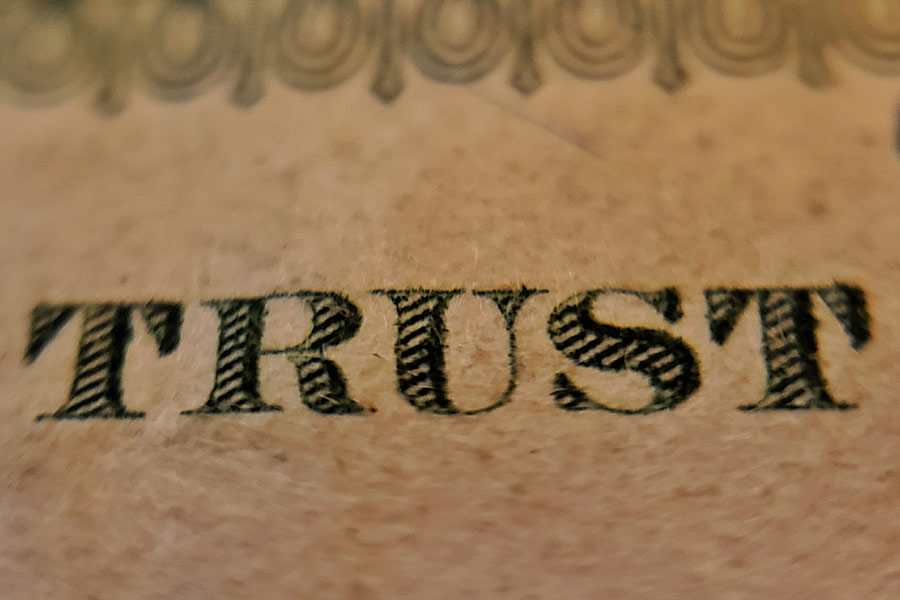 "La palabra ""trust"" que significa confianza"